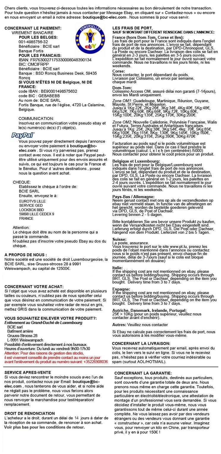 Conditions bc-elec.com: subwoofer, autoradio, caméra de recul, alarme auto